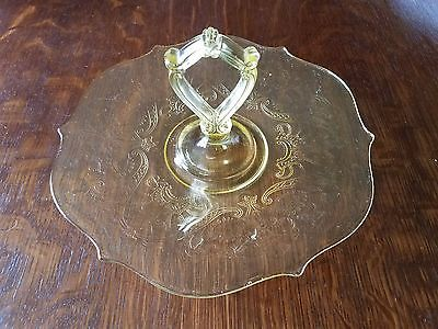 Landrum Sandwich Server Yellow Topaz Etched Lancaster Glass 1928 Center Handle