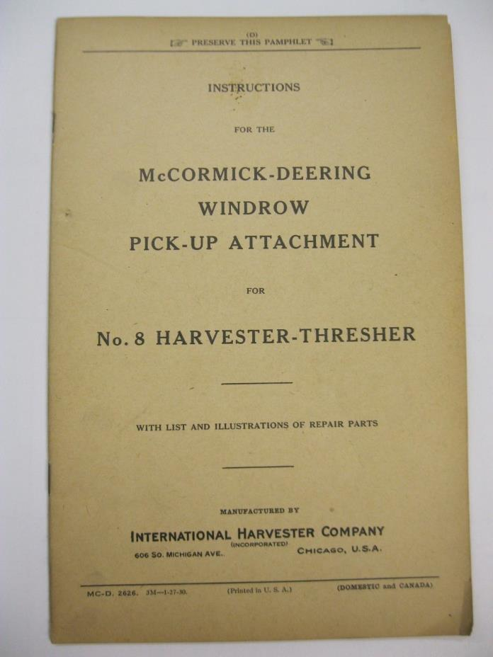 McCormick-Deering Windrow Pick-up Attachment for No. 8 Harvester-Thresher