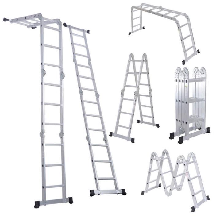 12.5FT  Aluminum Folding Ladder Scaffold Platform  Home Garage Repair Folding