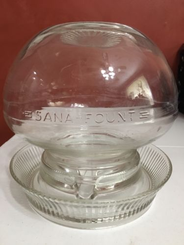 VINTAGE SANA FOUNT GLASS HEN CHICKEN WATERER FEEDER