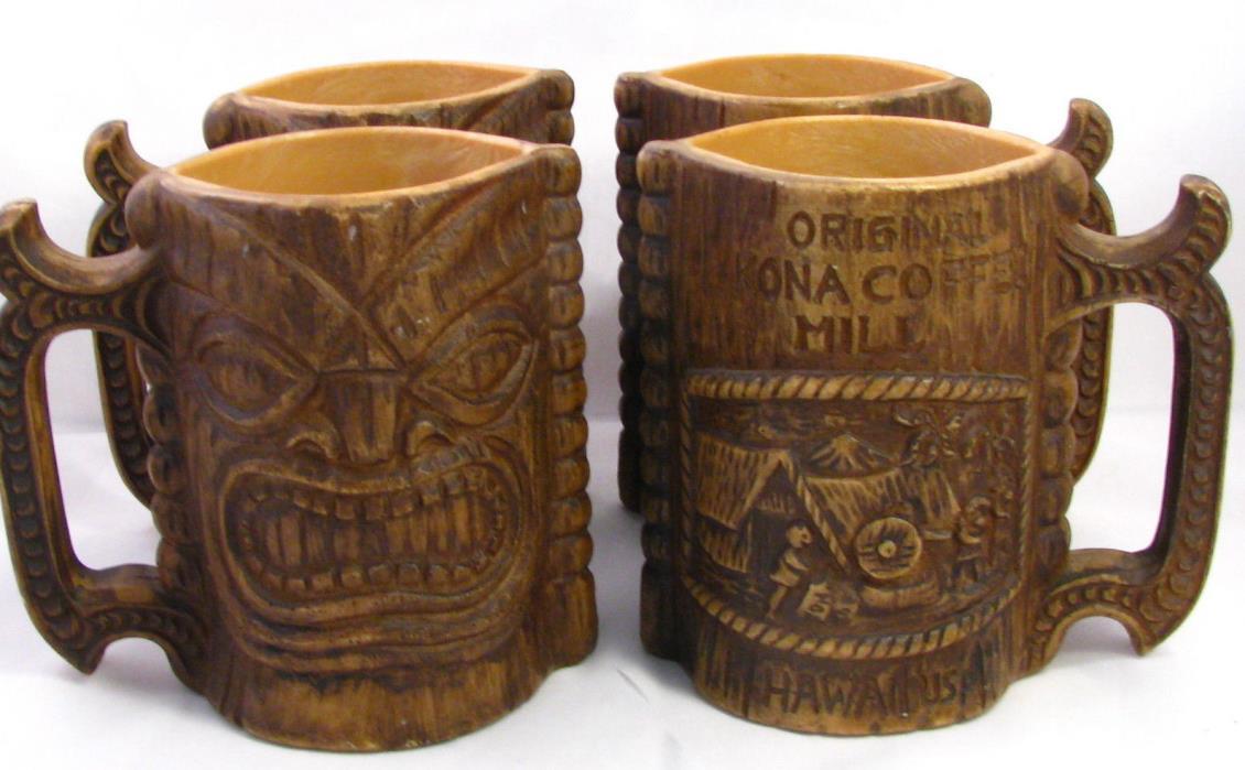 Set of 4 Vtg Original Kona Coffee Mill Hawaii Tiki Handled Mugs Plastic Resin