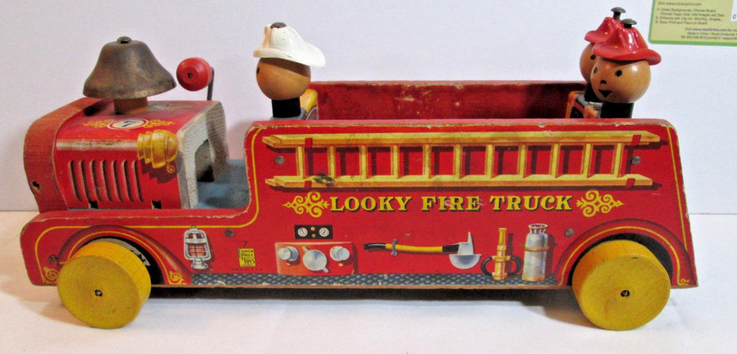 1940'S FISHER PRICE PULL TOY, LOOKY FIRE TRUCK WITH LITTLE FIREMEN GOOD GRAPHICS