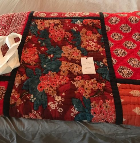 ~Pottery Barn Lola Patchwork King Quilt Reds Floral~