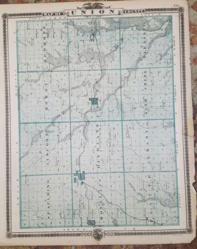 Union Adams County Iowa 1875 Antique Map
