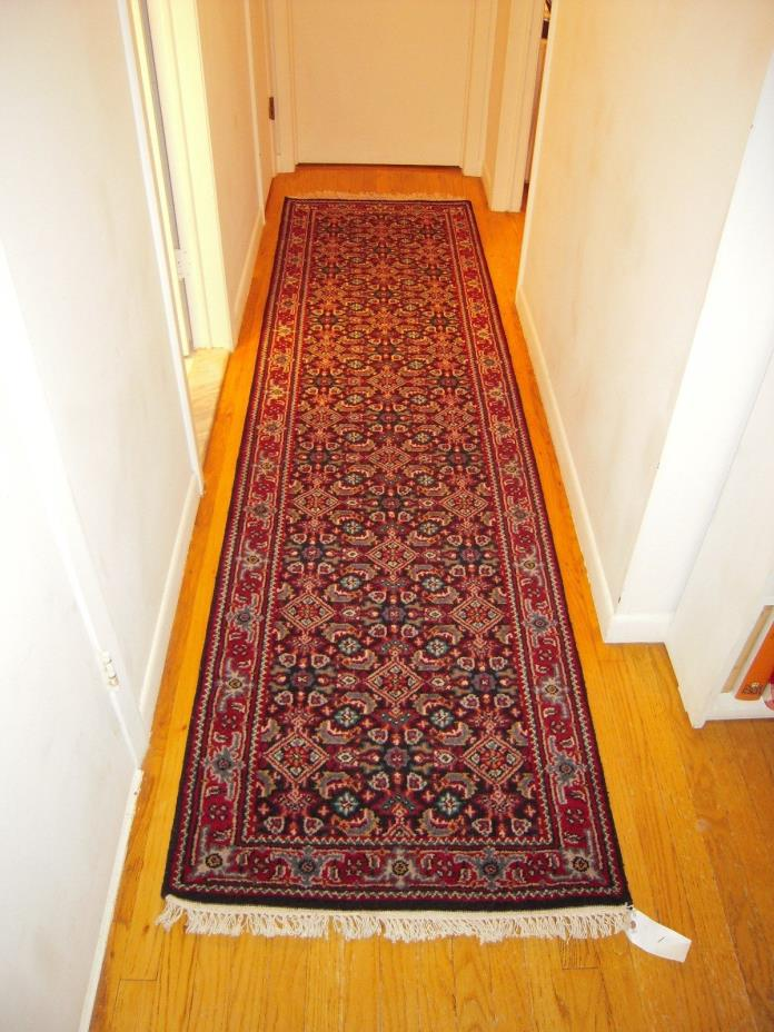 Hand-knotted Persian Carpet 2'7'x9'9' Bijar Traditional  Wool Rug Runner