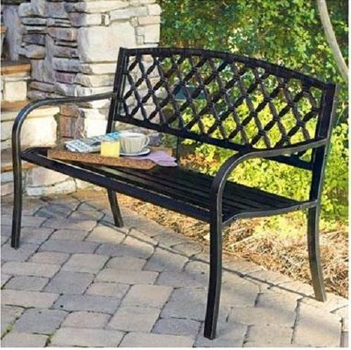 Commercial Park Bench Outdoor Steel Ornament Garden Bench Black