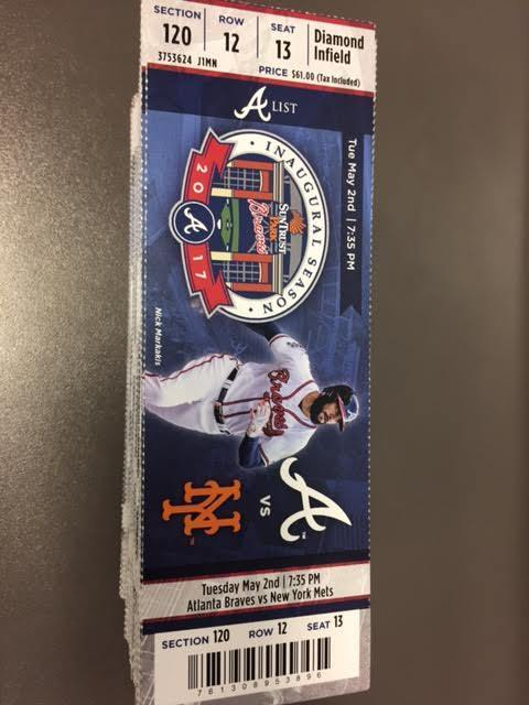 Atlanta Braves New York Mets MINT Season Ticket 5/2/17 2017 MLB Stub