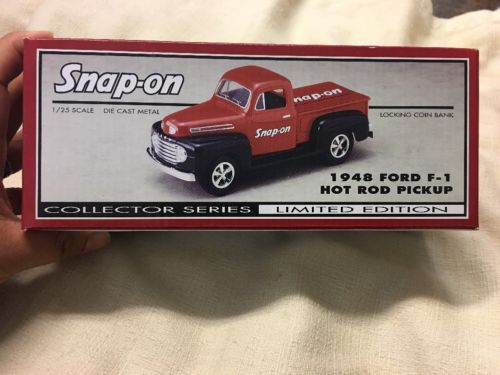 Snap On Tools 1948 Ford F-1 Hot Rod Pickup Locking Coin Bank 1:25 Scale Die Cast