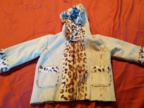 B.T. Kids Beige Shearling Coat with leopard print lining Size 24 Months