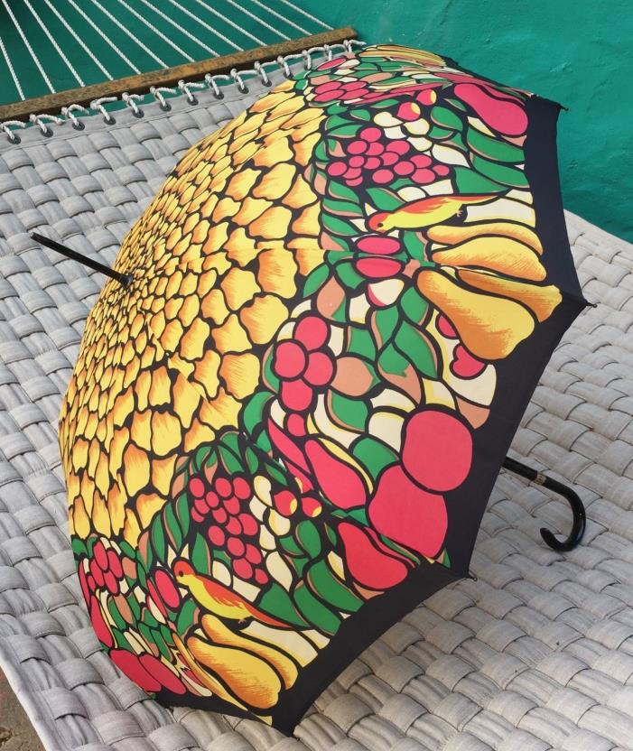 VTG 1969 Polan Katz Umbrella PK Mid Century Metal Spring Parasol fruits birds