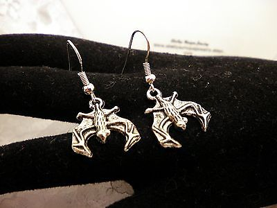 Handmade GOTH BATT SILVER WINGED Earrings/Jewelry/Women/Men