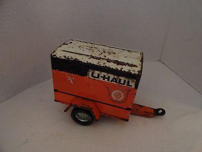 VINTAGE- USED  NYLINT - 1960'S U HAUL - PRESSED STEEL TOY ENCLOSED TRAILER