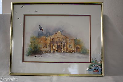 Original Framed and Matted Watercolor/Mixed Media 'The Alamo' by Jan Lenneville