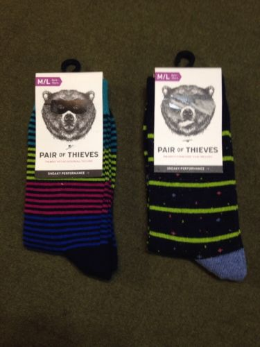 Lot 2x Pair of Thieves Boy's Sneaky Performance Casual Socks M/L Fun Bright