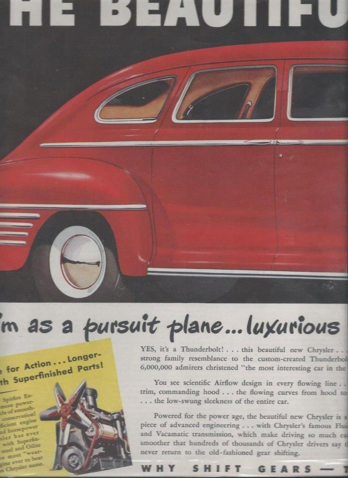 1941 It's A thunderbolt Chrysler New Yorker 2  seperate Pages Ad   Mag Ad