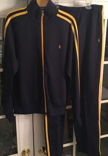 Vintage Men's Ralph Lauren Navy/gold Warm Up Suit Size L