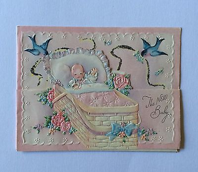 Vintage Baby in Embossed Basket with Bluebirds Glittered Greeting Card