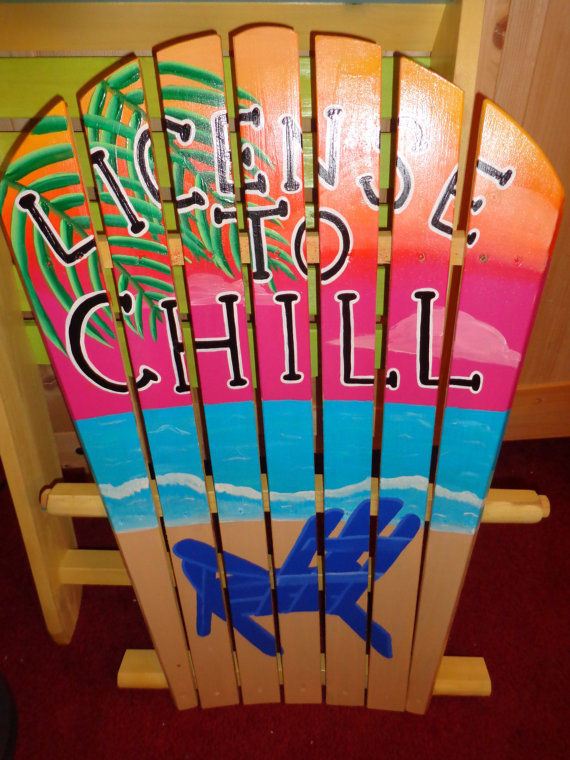 Hand painted wood Adirondack Chair sunset beach waves licence to chill theme