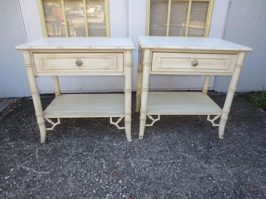 Pair Faux Bamboo Nightstands 2 Fretwork Allegro Regency Chinese Chippendale Whit