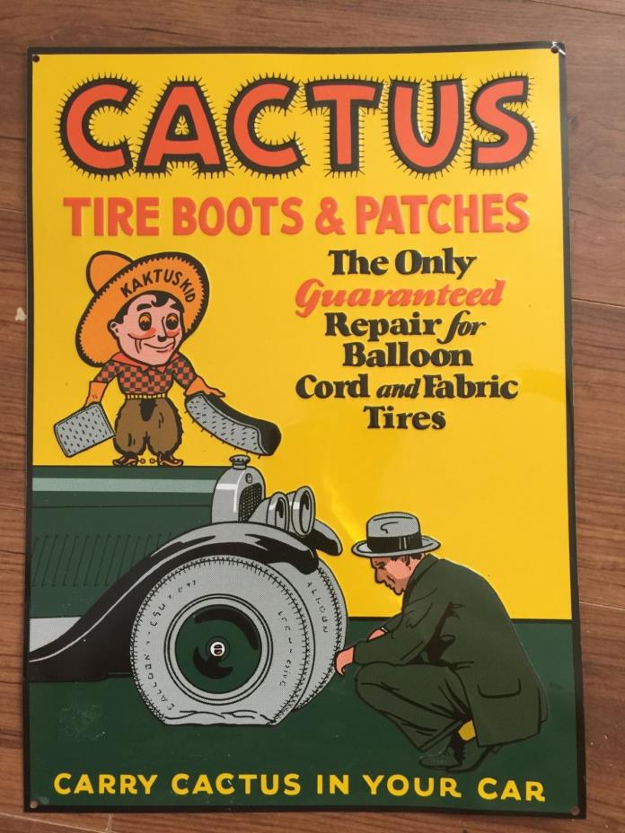 vintage tin sign garage,man cave decor Cactus Tire boots and patches