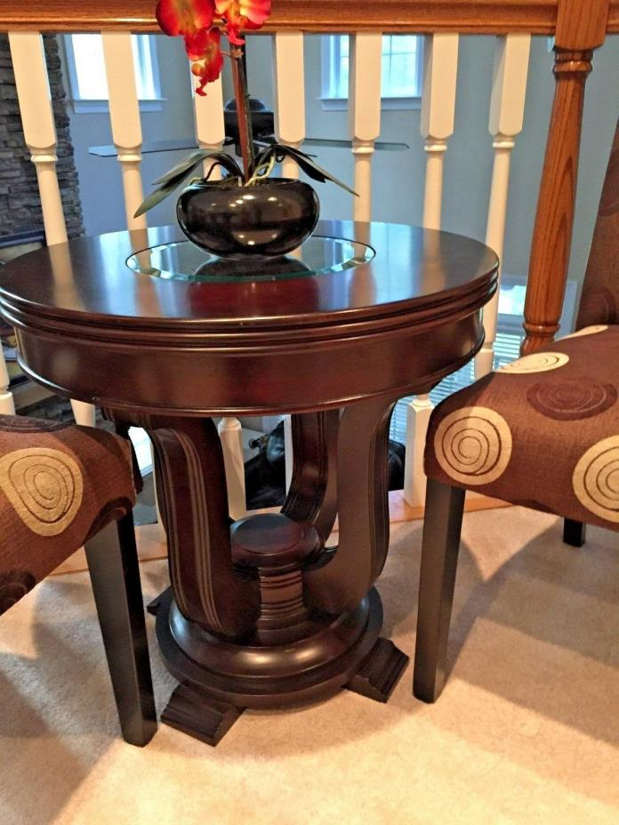 Accent Round Table Insert Glass 3 Piece Parsons Cloth Wood Decorative Chairs Set