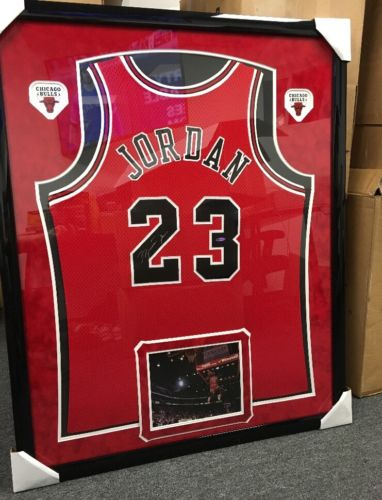 Michael Jordan Signed Pro Cut Champion Jersey Framed Chicago Bulls UDA COA