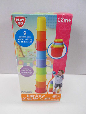 Playgo Rainbow Stackin' Cups 9 colorful cups BRAND NEW IN BOX!
