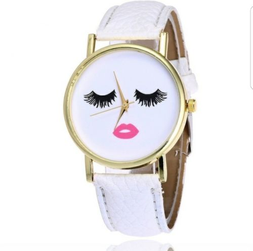 Cute eyelashes and lip watch