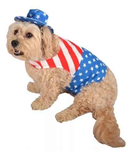 NWT Patriotic Dog Pet Costume Shirt Hat Star stripes July 4th M Red White Blue