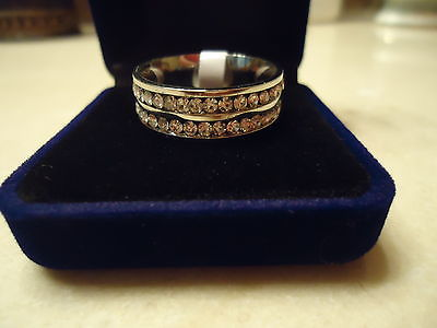 Stainless Steel Double Row CZ Anniversary Band Ring ** Size 11.5 ** NEW