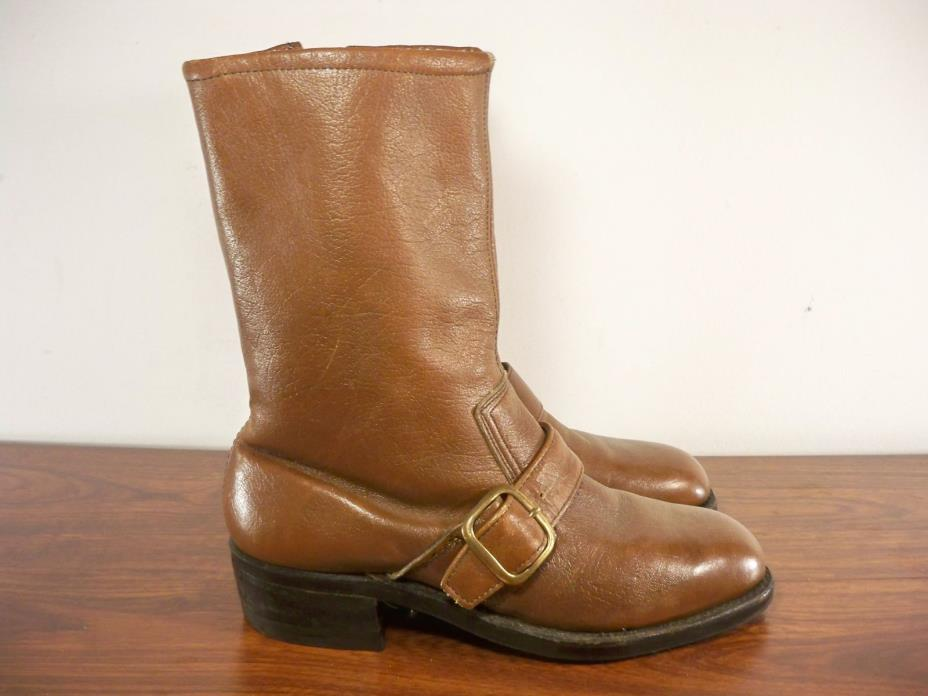 Vintage Made in USA Harness Riding Biker Motorcycle Leather Men's Boots Size 7.5