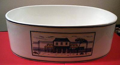 White Oval Serve Bowl with Blue Decoration (#2)