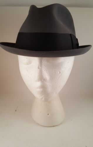Vintage Mens Knox Flying Cloud Silver Derby Fedora Hat Size 6 7/8 and Pin Props