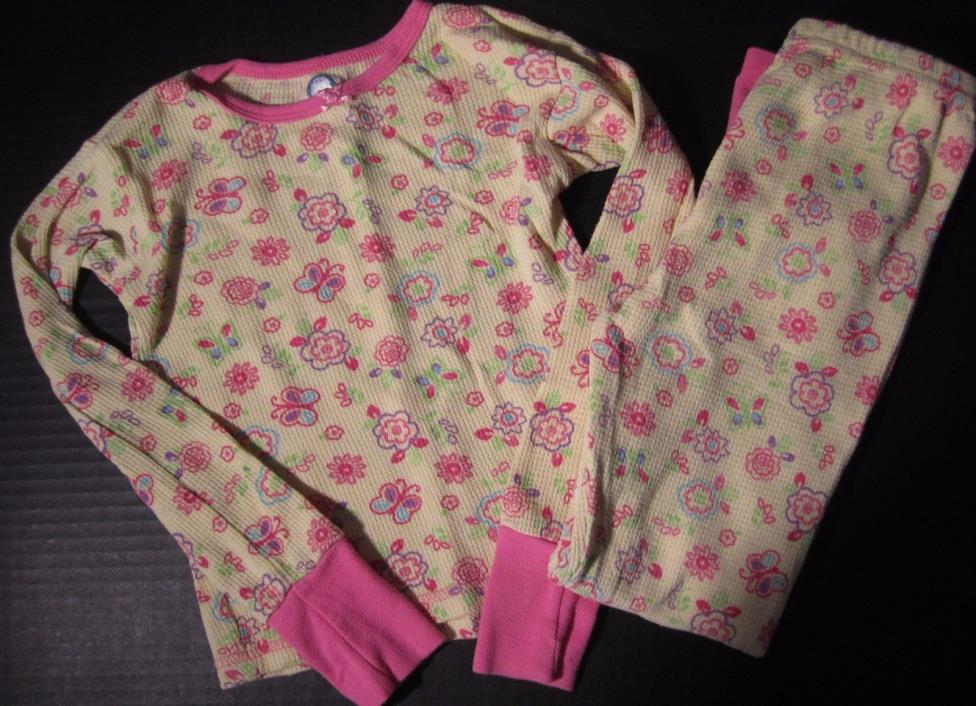 Gerber Girls Pajama Set Top Bottom Yellow Pink Flowers Size 5T