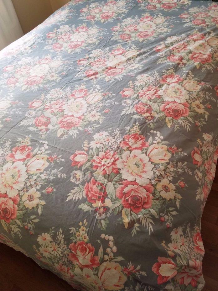 Ralph Lauren Chadwick Blue Floral Ocean Queen Sheet Flat Cotton Fabric
