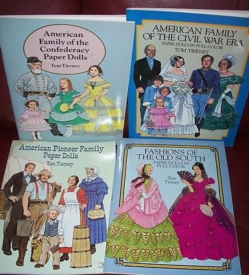 UNCUT Tom Tierney Paper Dolls LOT American Family Confederacy Civil War Pioneer