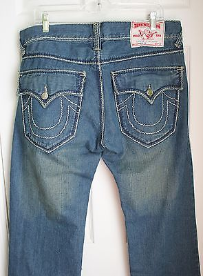 True Religion mens jeans classic straight leg denim blue 36x34 34x34