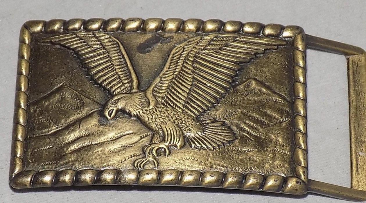 Vtg Solid Brass American Bald Eagle Soaring Mountains Belt Buckle