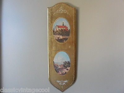 Vintage MC Imports Italian Gold Gilt Wood Plaque Wall Hanging Art