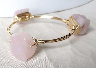Rose Quartz Rough Nugget Bangle Bracelet