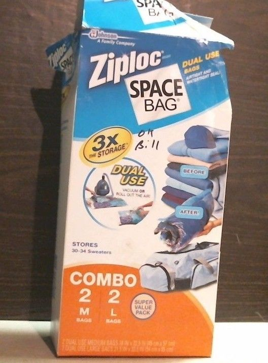 Ziploc 25868 Space Bags 2 Med. 2 Lg. Combo Box FREE SHIPPING