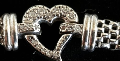 Italy Sterling silver Heart and Diamond Mesh Link Bracelet
