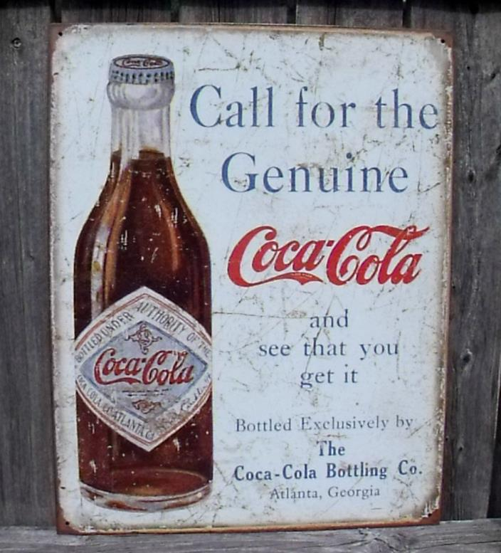 Coca Cola Sign Genuine Bottling Co. Atlanta,Ga Nostalgic Metal New 12 1/2 x 16in
