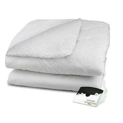 Biddeford Blankets Reversible Sherpa Quilted Electric Heated Mattress Pad with a