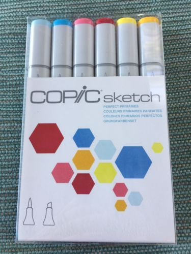 Copic 6pc Sketch Perfect Primaries Alcohol Markers 6 Pen Colors