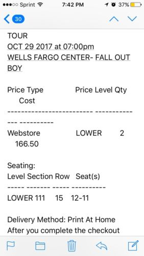 2 Tickets Fall Out Boy - Philadelphia PA Oct 29 - Section 111 Row 15 Seats 11-12