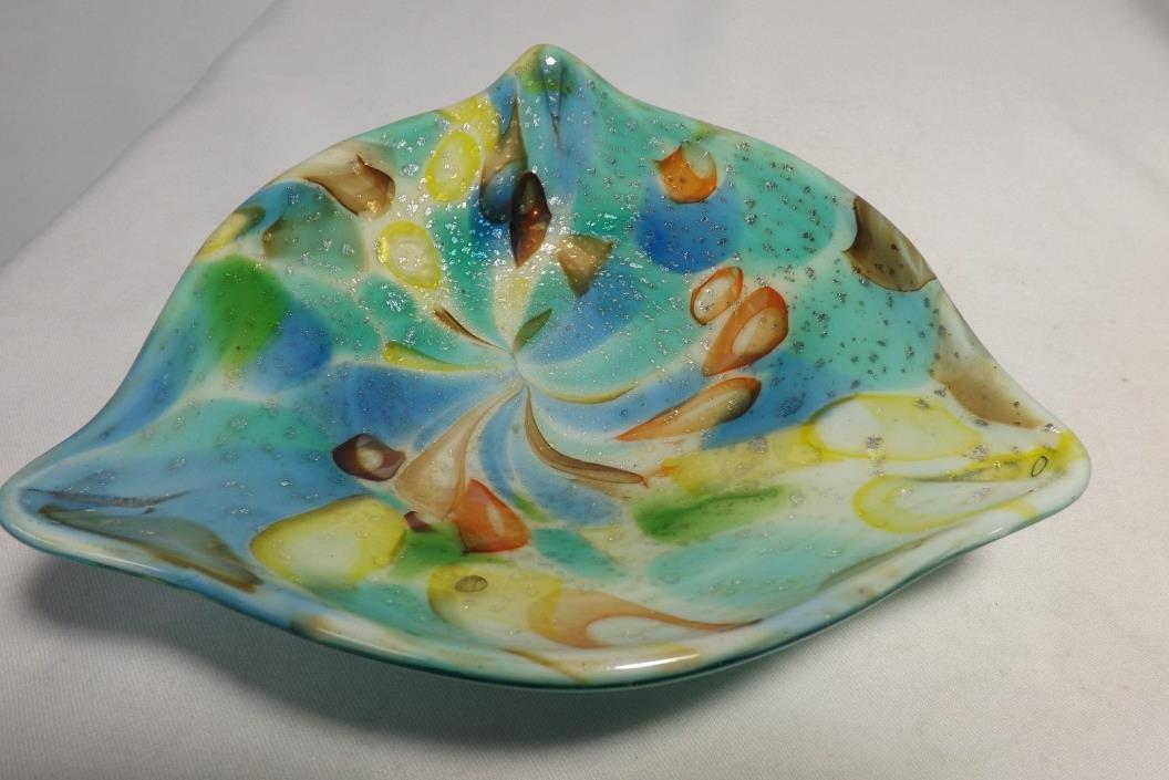 Murano Art Glass Modern Ash Tray Candy Dish Bowl Multi-Colored w/Silver Fleck