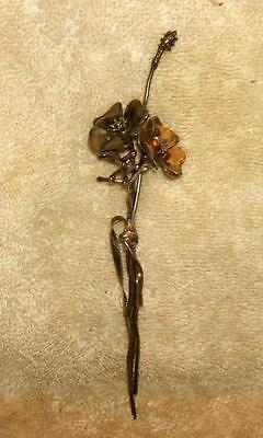 Early 1900's Hand Crafted Poppy Flower Brooch Pin