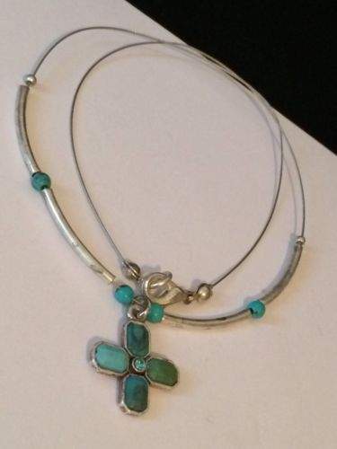 Dainty Southwest Silver & Turquoise Blue Cross Pendant Wire Necklace #R11