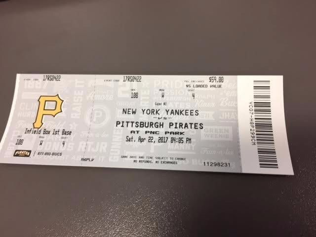 Juge HR - Pittsburgh Pirates New York Yankees MINT Ticket 4/22/17 2017 MLB Stub